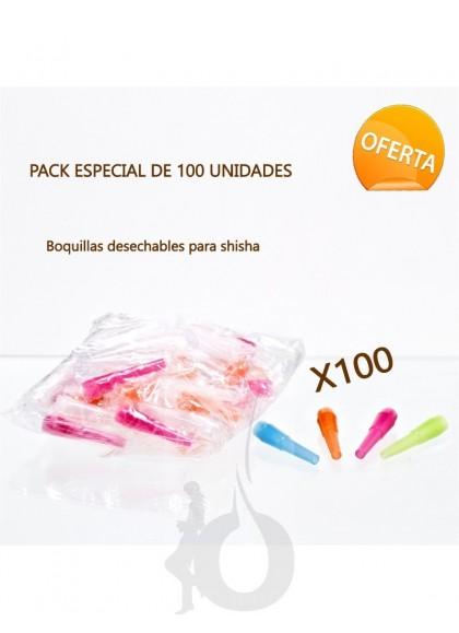 Pack de 100 Boquillas de Plástico para Shisha