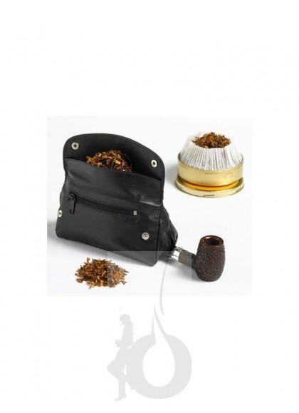 Bolsa de Piel Negra Peterson para 1 Pipa + Accesorios